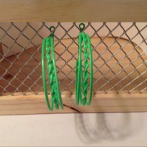 Neon Green Hoop Fashion Earrings